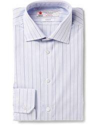 Turnbull & Asser Blue Slim-fit Micro-check Cotton Shirt - Lyst