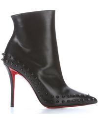 Christian Louboutin Black Leather 'Willetta 100' Spiked Trim Ankle Booties - Lyst