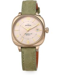Shinola Gomelsky Stainless Steel & Leather Strap Watch/Jade Green - Lyst