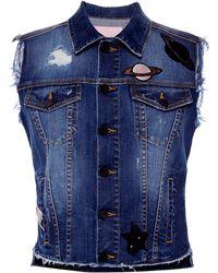 Giamba - Embroidered Denim Sleeveless Vest - Lyst