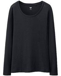 Uniqlo Supima Cotton Modal Long Sleeve T-shirt - Lyst