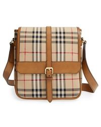 Burberry 'Bryett' Horseferry Check & Leather Crossbody Bag brown - Lyst