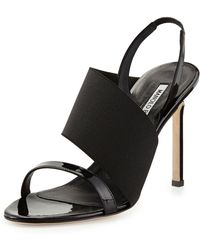 Manolo Blahnik Petto Patent Crossover Sandal - Lyst