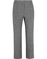 Barbara Casasola - - Cropped Linen Flared Trousers - Grey - Lyst