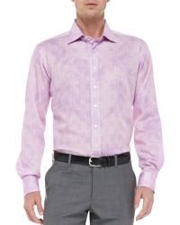 Etro Glen Plaid Floral Shirt Medium Pink - Lyst