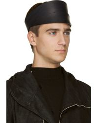 Rick Owens Black Matte Leather Vicious Visor - Lyst