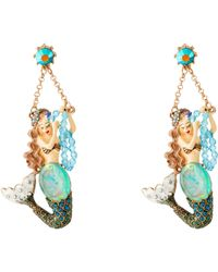 Betsey Johnson Into The Blue Mermaid Seashell Non-Matching Earrings multicolor - Lyst
