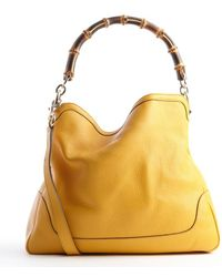 Gucci Mustard Leather Diana Bamboo Handle Tote - Lyst
