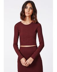 Missguided Elania Long Sleeve Ribbed Jersey Crop Top Oxblood - Lyst