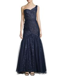 Ml Monique Lhuillier One-shoulder Gown with Tulle Overlay - Lyst