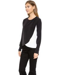 Rachel Zoe Faux Wrap Top Whiteblack - Lyst