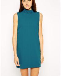 Asos High Neck Sleeveless Dress - Lyst