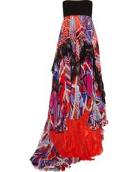 Emilio Pucci Lace-Trimmed Printed Silk-Blend Chiffon Dress - Lyst