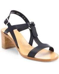 Ferragamo Peria Leather Block-heel Sandals - Lyst