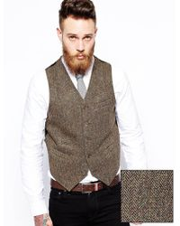 Asos Slim Fit Vest In Harris Tweed - Lyst