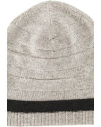 Blue & Cream - Cashmere Hat W/ Reverse Stitch & Stripe - Lyst