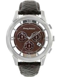 Tommy Bahama - Mens Swiss Chronograph Dark Brown Woven Leather Strap 42mm - Lyst