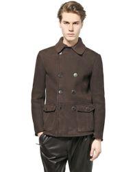 Giorgio Armani Bonded Nubuck Wool Knit Jacket - Lyst