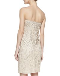 Sue Wong Strapless Embellished Jacquard Short Dress - Lyst