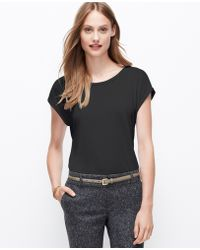 Ann Taylor Georgette Jewel Neck Tee - Lyst