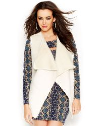Guess Draped Faux-shearling Vest - Lyst