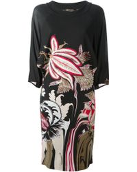 Roberto Cavalli Floral Print Dress - Lyst