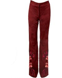 Matthew Williamson Embroidered Suede Wide Leg Trousers - Lyst