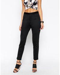 Asos Cigarette Pant In Stretch Jersey black - Lyst