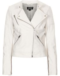 Topshop Collarless Faux Leather Biker Jacket - Lyst