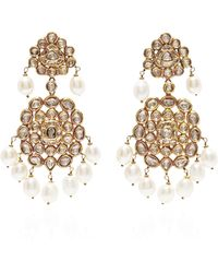 Kirat Young - Pearl Indian Earrings in Gold - Lyst
