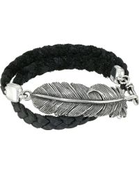 King Baby Studio Double Wrap Leather Bracelet With Raven Feather - Lyst