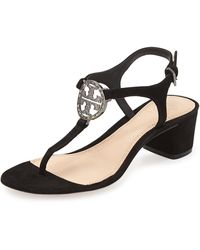 Tory Burch Violet Suede Logo City Sandal - Lyst