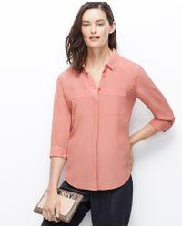 Ann Taylor Tall Silk Camp Shirt - Lyst