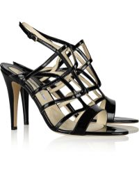 Brian Atwood Gwen Patentleather Sandals - Lyst