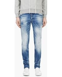 DSquared2 Blue Raffia_trimmed Ripped and Painted Cool Guy Jeans - Lyst