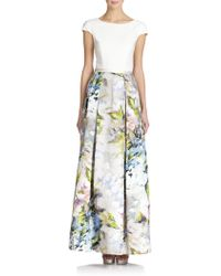 Theia Crepe-Top Colorblock Gown - Lyst