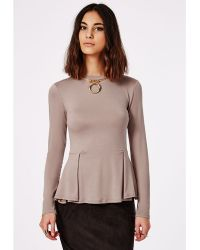 Missguided Long Sleeve Peplum Top Taupe - Lyst