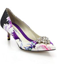 Brian Atwood Jael Bejeweled Floral-Print Silk Pumps - Lyst
