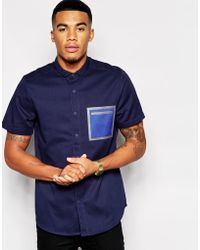 Asos Shirt In Short Sleeve With Heat Seal Pocket Detail - Lyst