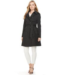 Ralph Lauren Polka-Dot Belted Trench Coat - Lyst