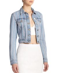 T By Alexander Wang Striped Denim Jacket - Lyst