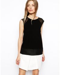 Asos Top In Texture And Sheer Panels - Lyst