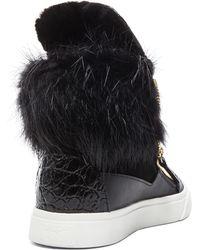 Giuseppe Zanotti London Fur Sneakers - Lyst