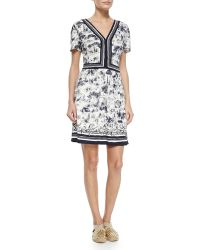 Tory Burch V-Neck Floral-Print Crepe Dress - Lyst