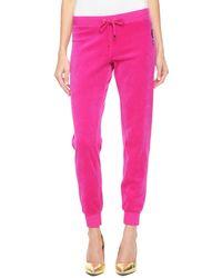 Juicy Couture   pink Logo Jc Lace Velour Slim Pant   Lyst