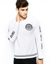 Asos Long Sleeve Tshirt with North South Print - Lyst