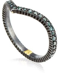 Yossi Harari Lilah Blue Diamonds V Ring - Lyst