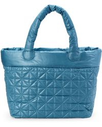 Nila Anthony - Teal Quilted Nylon Tote - Lyst