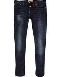 River Island Black Acid Wash Sid Skinny Stretch Jeans - Lyst