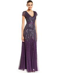 Adrianna Papell Cap-sleeve Sequined Gown - Lyst